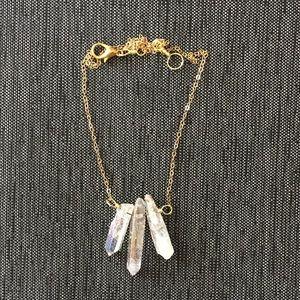 NWOT White Stone Gold Necklace